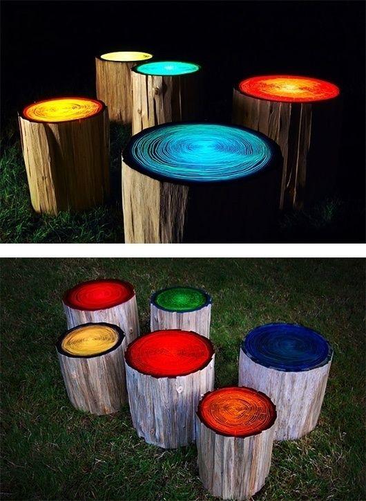 Glow in the dark log stools