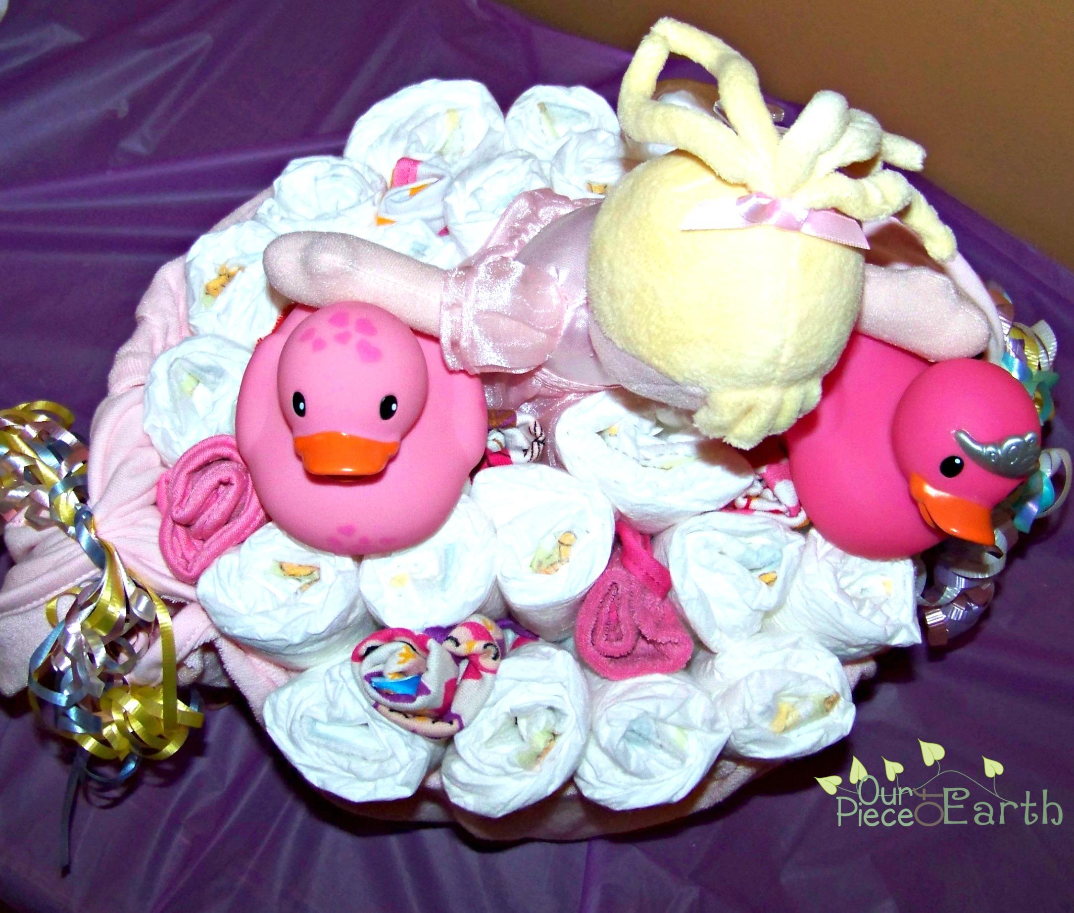 Baby Bathtub Diaper Cake Gift Basket Centerpiece