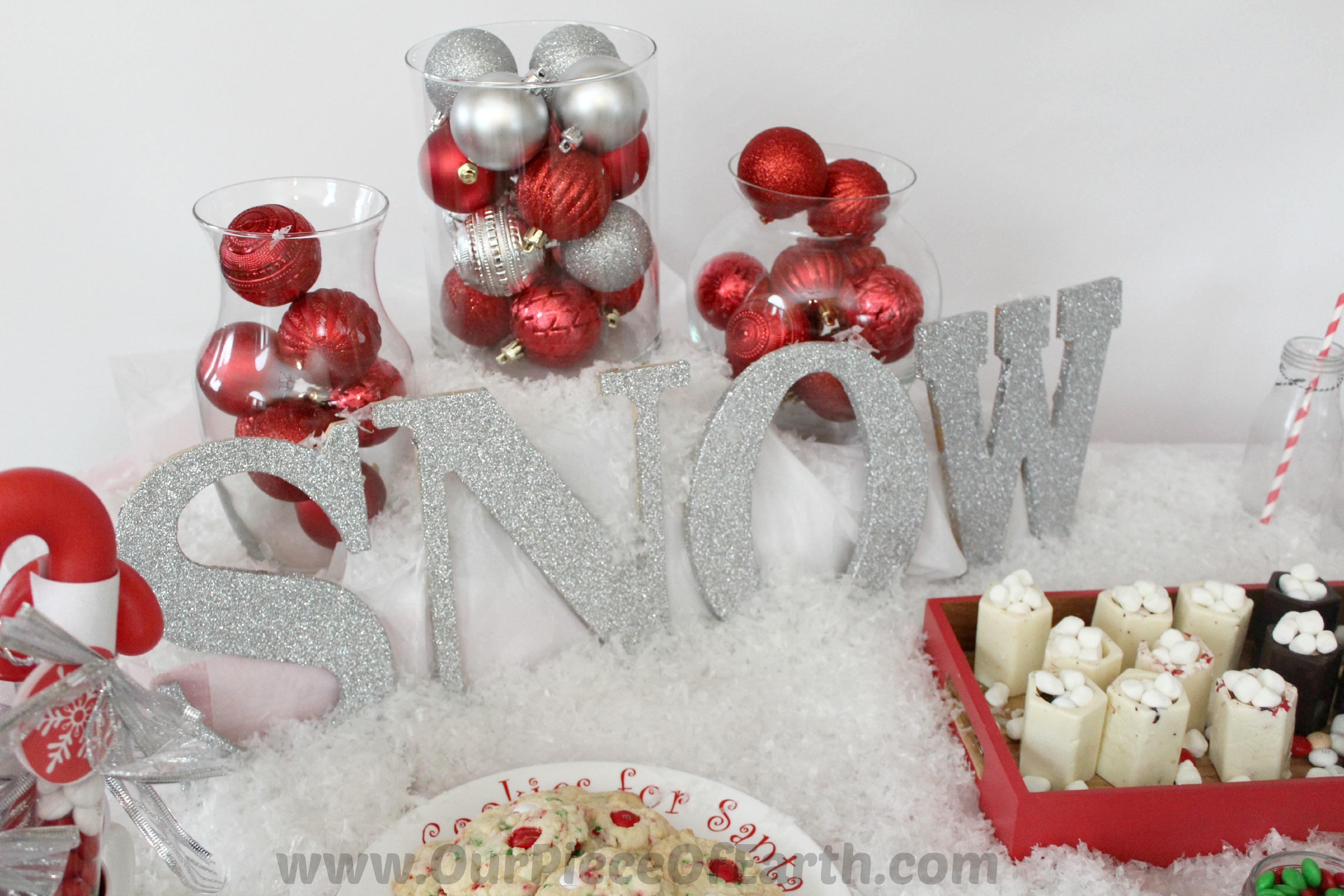Glitter Snow winter decorations #BakeInTheFun Winter Tablescape