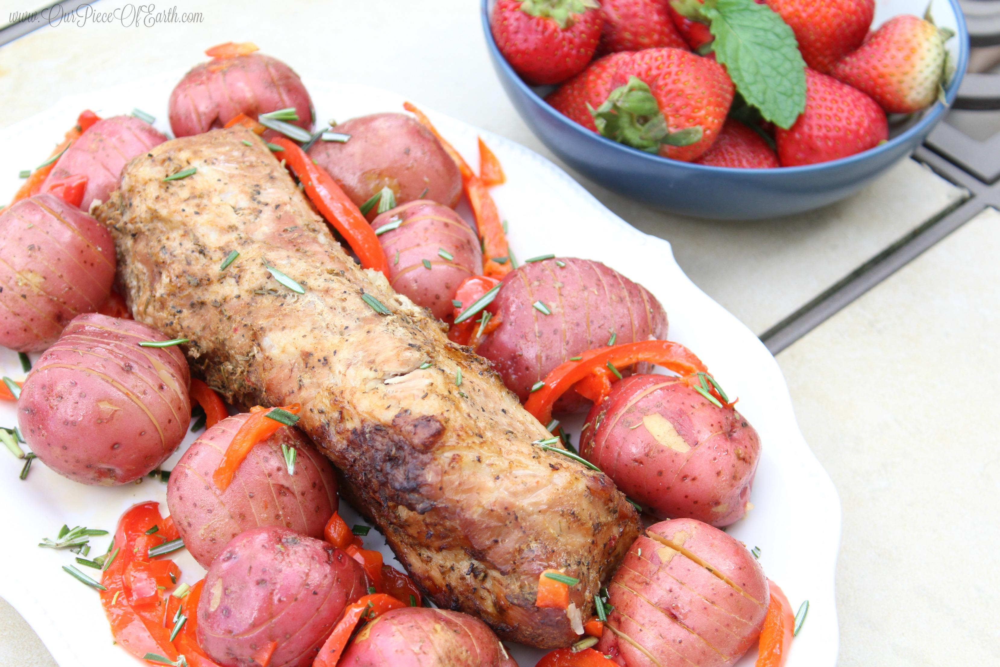Smithfield Marinated Fresh Pork w potatoes and strawberries